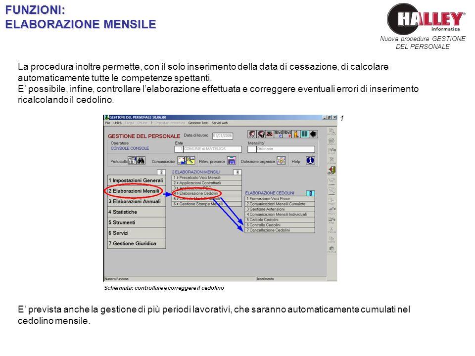 Schermata: controllare e correggere il cedolino Nuova procedura GESTIONE DEL PERSONALEFUNZIONI: ELABORAZIONE MENSILE 1 La procedura inoltre permette,
