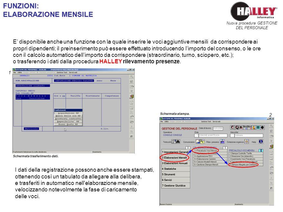 Schermata trasferimento dati. Nuova procedura GESTIONE DEL PERSONALEFUNZIONI: ELABORAZIONE MENSILE E disponibile anche una funzione con la quale inser