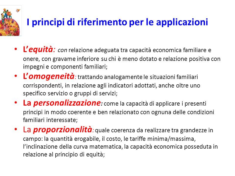 I principi di riferimento per le applicazioni Lequità: con relazione adeguata tra capacità economica familiare e onere, con gravame inferiore su chi è