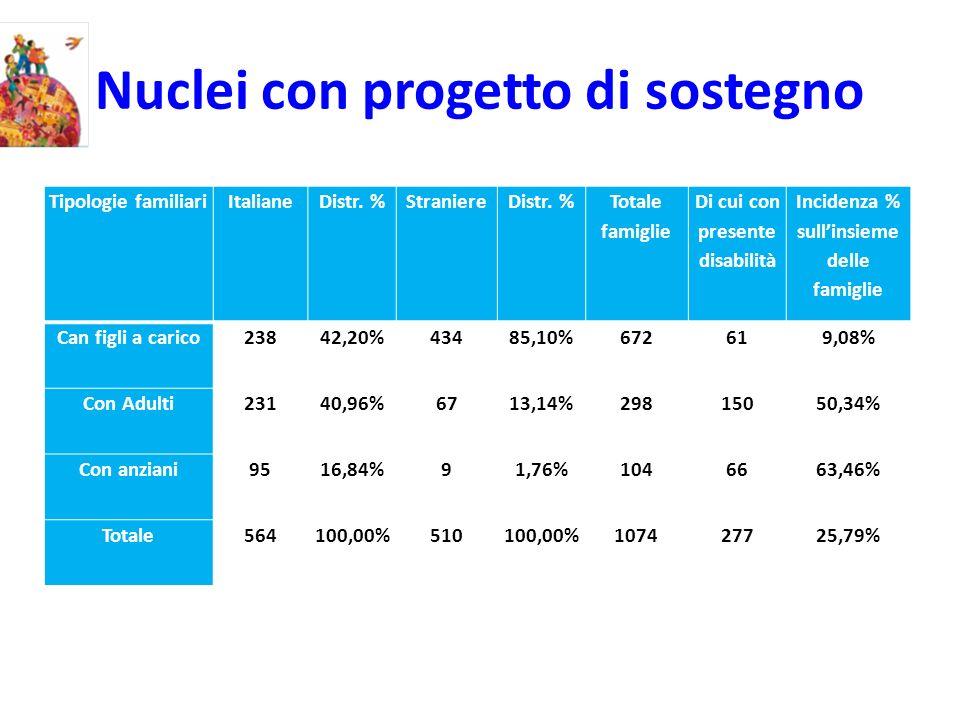 Nuclei con progetto di sostegno Tipologie familiariItalianeDistr. %StraniereDistr. % Totale famiglie Di cui con presente disabilità Incidenza % sullin