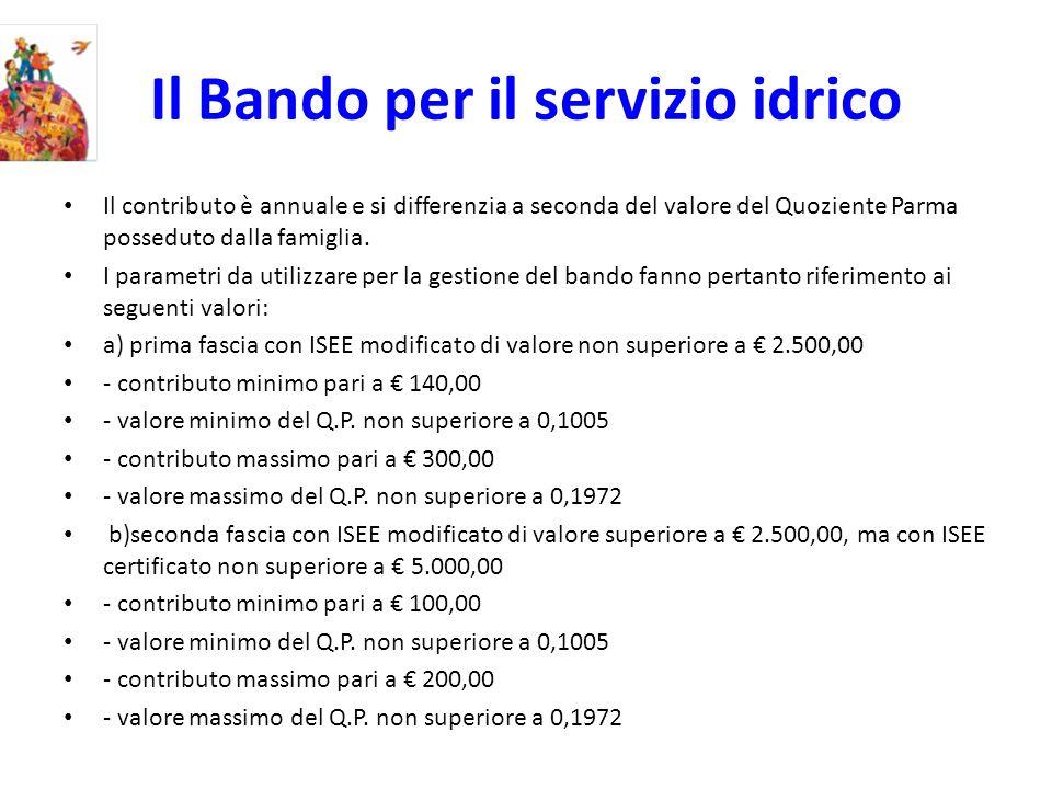 Il Bando per il servizio idrico Il contributo è annuale e si differenzia a seconda del valore del Quoziente Parma posseduto dalla famiglia.