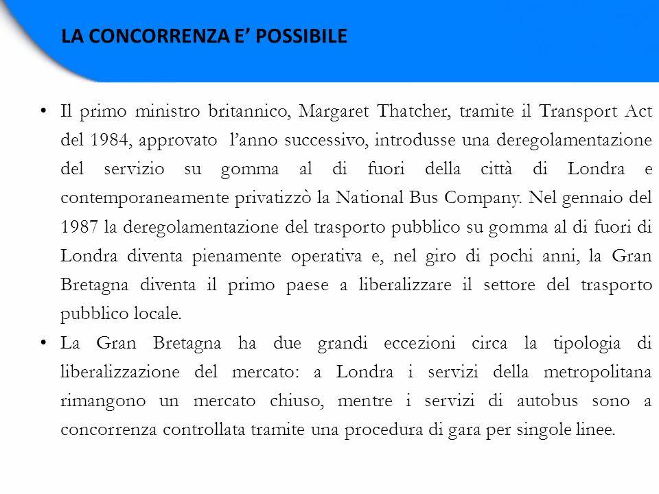 LA CONCORRENZA E POSSIBILE Il primo ministro britannico, Margaret Thatcher, tramite il Transport Act del 1984, approvato lanno successivo, introdusse
