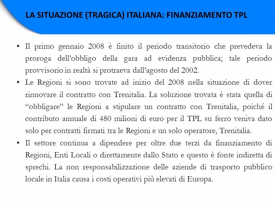 LA SITUAZIONE (TRAGICA) ITALIANA: FINANZIAMENTO TPL Il primo gennaio 2008 è finito il periodo transitorio che prevedeva la proroga dellobbligo della g