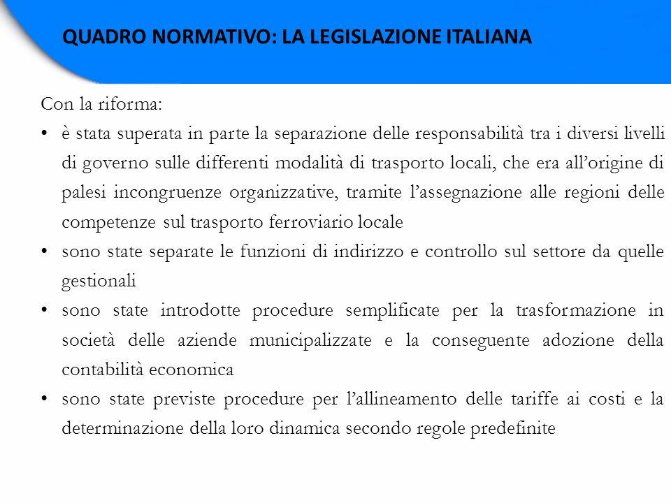 QUADRO NORMATIVO: LA LEGISLAZIONE ITALIANA Con la riforma: è stata superata in parte la separazione delle responsabilità tra i diversi livelli di gove
