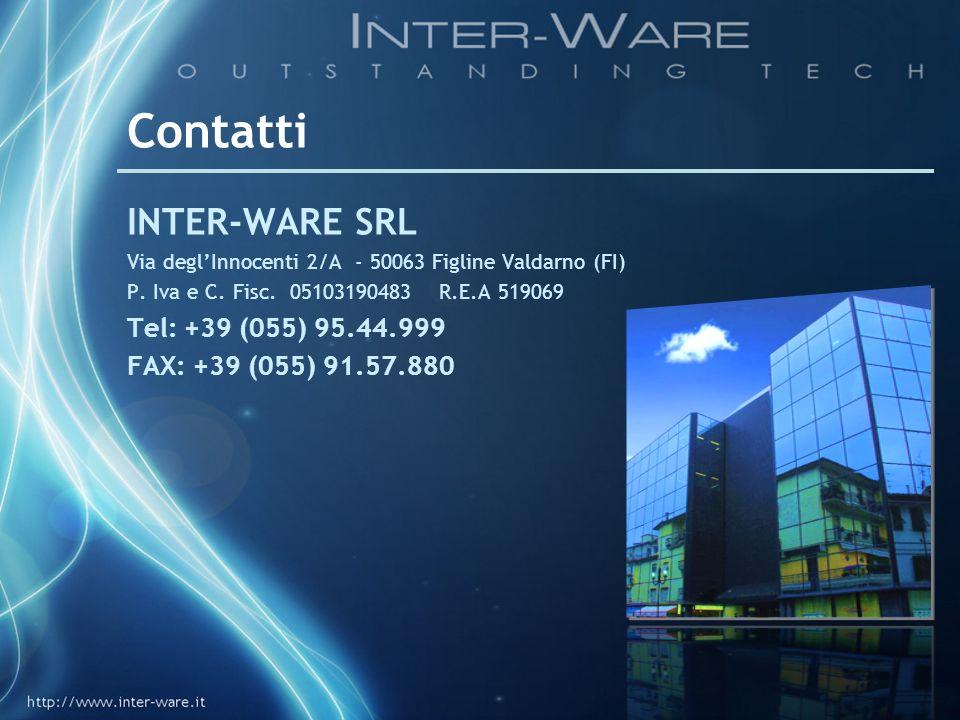 Contatti INTER-WARE SRL Via deglInnocenti 2/A - 50063 Figline Valdarno (FI) P. Iva e C. Fisc. 05103190483 R.E.A 519069 Tel: +39 (055) 95.44.999 FAX: +