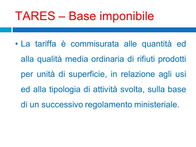 TARES – Base imponibile La tariffa è commisurata alle quantità ed alla qualità media ordinaria di rifiuti prodotti per unità di superficie, in relazio