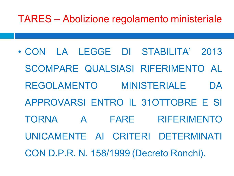 TARES – Abolizione regolamento ministeriale CON LA LEGGE DI STABILITA 2013 SCOMPARE QUALSIASI RIFERIMENTO AL REGOLAMENTO MINISTERIALE DA APPROVARSI EN