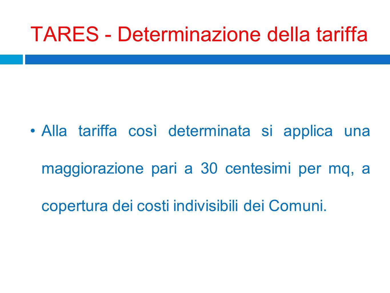 TARES - Determinazione della tariffa Alla tariffa così determinata si applica una maggiorazione pari a 30 centesimi per mq, a copertura dei costi indi