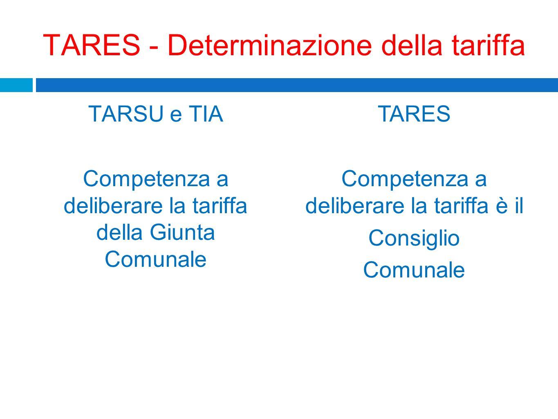 TARES - Determinazione della tariffa TARSU e TIA Competenza a deliberare la tariffa della Giunta Comunale TARES Competenza a deliberare la tariffa è i