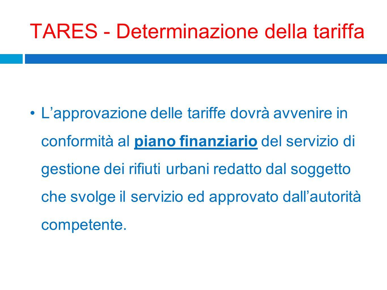 TARES - Determinazione della tariffa Lapprovazione delle tariffe dovrà avvenire in conformità al piano finanziario del servizio di gestione dei rifiut