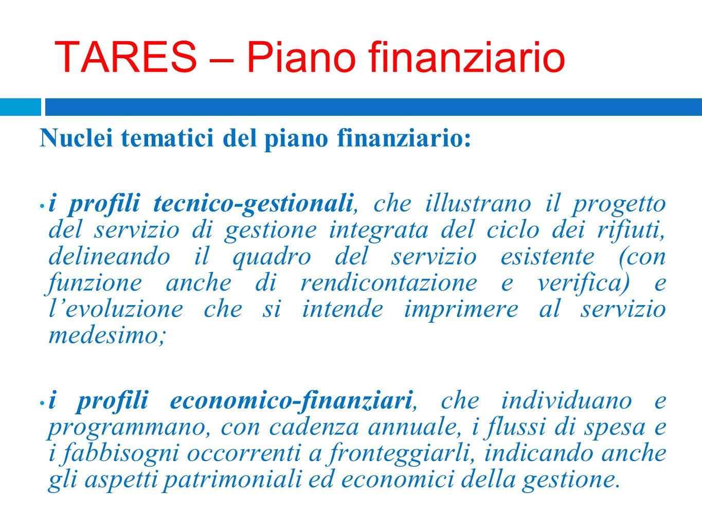 TARES – Piano finanziario Nuclei tematici del piano finanziario: i profili tecnico-gestionali, che illustrano il progetto del servizio di gestione int