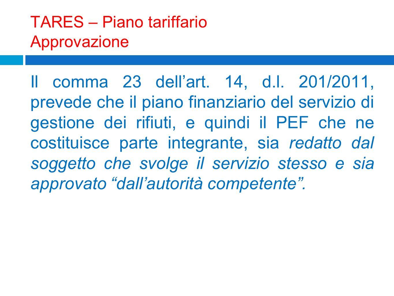 TARES – Piano tariffario Approvazione Il comma 23 dellart. 14, d.l. 201/2011, prevede che il piano finanziario del servizio di gestione dei rifiuti, e