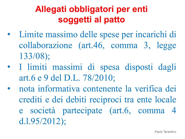 Limite massimo delle spese per incarichi di collaborazione (art.46, comma 3, legge 133/08); I limiti massimi di spesa disposti dagli art.6 e 9 del D.L