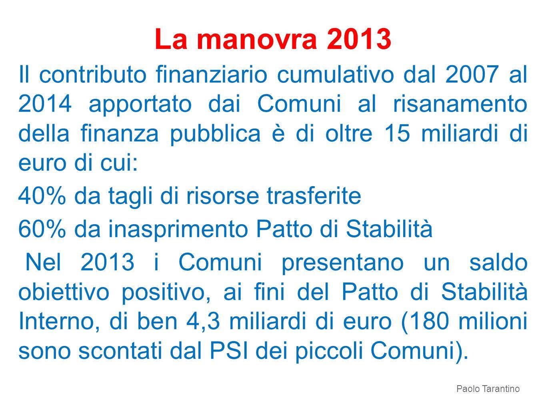 La manovra 2013 Il contributo finanziario cumulativo dal 2007 al 2014 apportato dai Comuni al risanamento della finanza pubblica è di oltre 15 miliard
