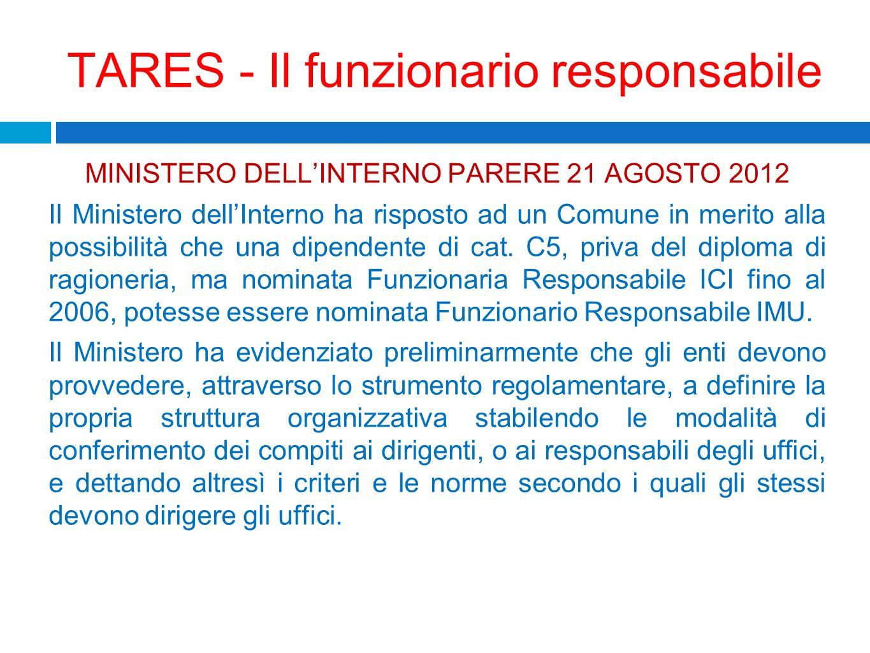 TARES - Il funzionario responsabile MINISTERO DELLINTERNO PARERE 21 AGOSTO 2012 Il Ministero dellInterno ha risposto ad un Comune in merito alla possi
