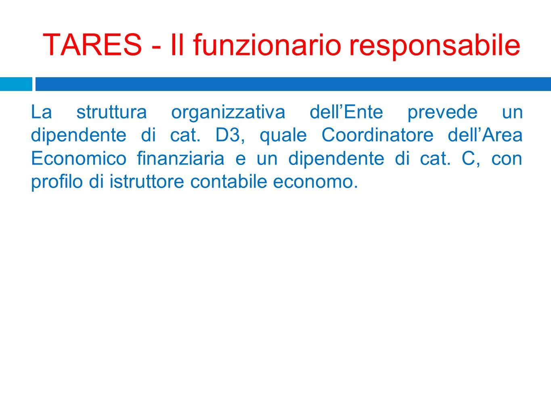 TARES - Il funzionario responsabile La struttura organizzativa dellEnte prevede un dipendente di cat. D3, quale Coordinatore dellArea Economico finanz