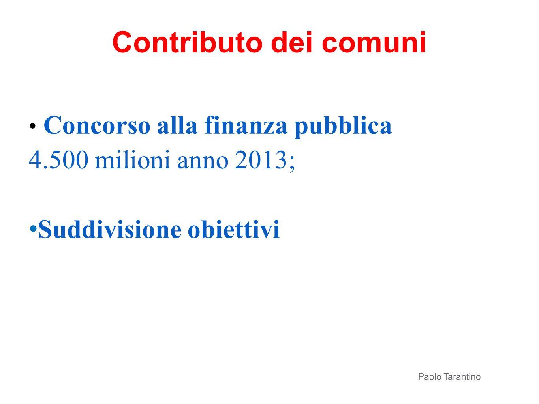Contributo dei comuni Concorso alla finanza pubblica 4.500 milioni anno 2013; Suddivisione obiettivi Paolo Tarantino