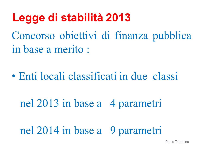 Legge di stabilità 2013 Concorso obiettivi di finanza pubblica in base a merito : Enti locali classificati in due classi nel 2013 in base a 4 parametr