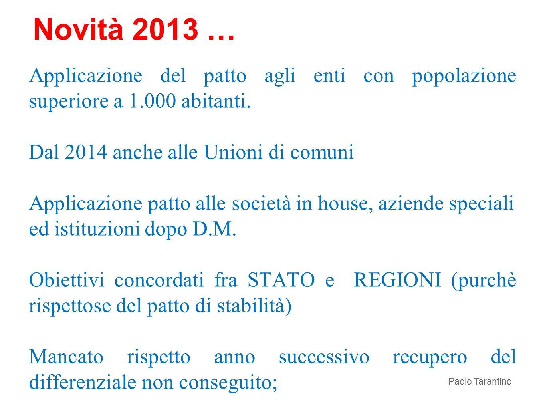 Novità 2013 … Applicazione del patto agli enti con popolazione superiore a 1.000 abitanti. Dal 2014 anche alle Unioni di comuni Applicazione patto all