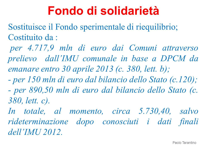 Sostituisce il Fondo sperimentale di riequilibrio; Costituito da : per 4.717,9 mln di euro dai Comuni attraverso prelievo dallIMU comunale in base a D