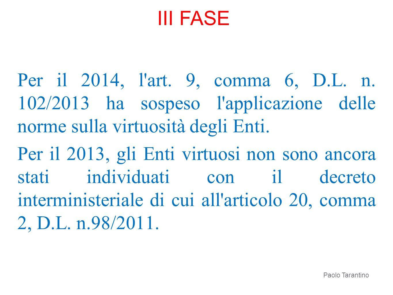Per il 2014, l'art. 9, comma 6, D.L. n. 102/2013 ha sospeso l'applicazione delle norme sulla virtuosità degli Enti. Per il 2013, gli Enti virtuosi non