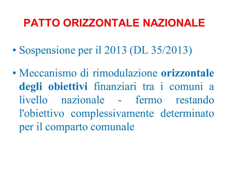 PATTO ORIZZONTALE NAZIONALE Sospensione per il 2013 (DL 35/2013) Meccanismo di rimodulazione orizzontale degli obiettivi finanziari tra i comuni a liv