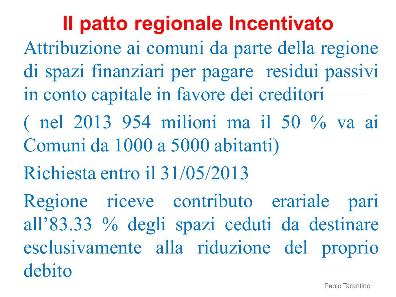 Il patto regionale Incentivato Paolo Tarantino Attribuzione ai comuni da parte della regione di spazi finanziari per pagare residui passivi in conto c
