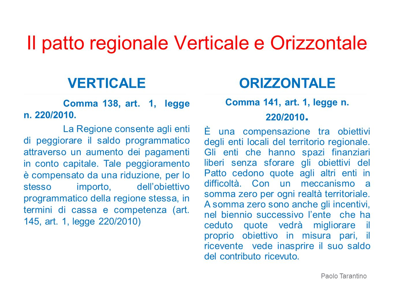 VERTICALE Comma 138, art. 1, legge n. 220/2010. La Regione consente agli enti di peggiorare il saldo programmatico attraverso un aumento dei pagamenti