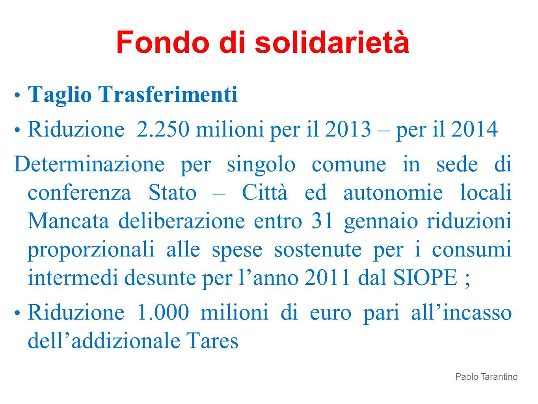 Taglio Trasferimenti Riduzione 2.250 milioni per il 2013 – per il 2014 Determinazione per singolo comune in sede di conferenza Stato – Città ed autono
