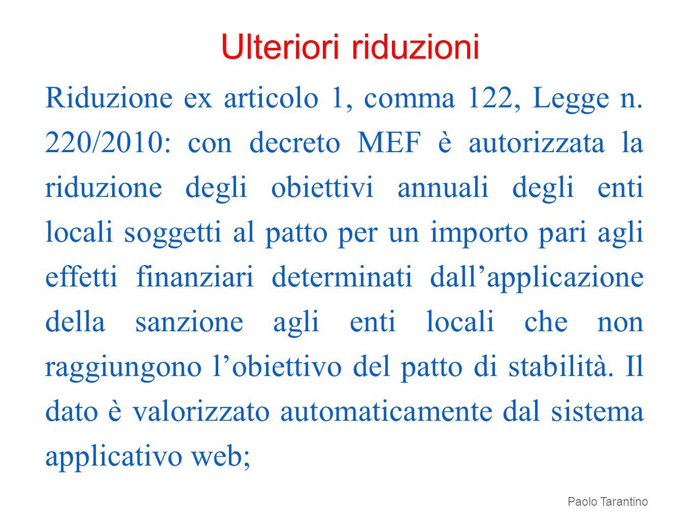 Riduzione ex articolo 1, comma 122, Legge n. 220/2010: con decreto MEF è autorizzata la riduzione degli obiettivi annuali degli enti locali soggetti a