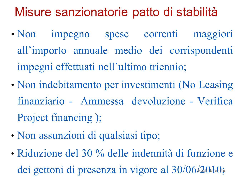 Non impegno spese correnti maggiori allimporto annuale medio dei corrispondenti impegni effettuati nellultimo triennio; Non indebitamento per investim