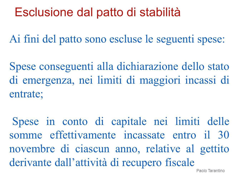 Ai fini del patto sono escluse le seguenti spese: Spese conseguenti alla dichiarazione dello stato di emergenza, nei limiti di maggiori incassi di ent