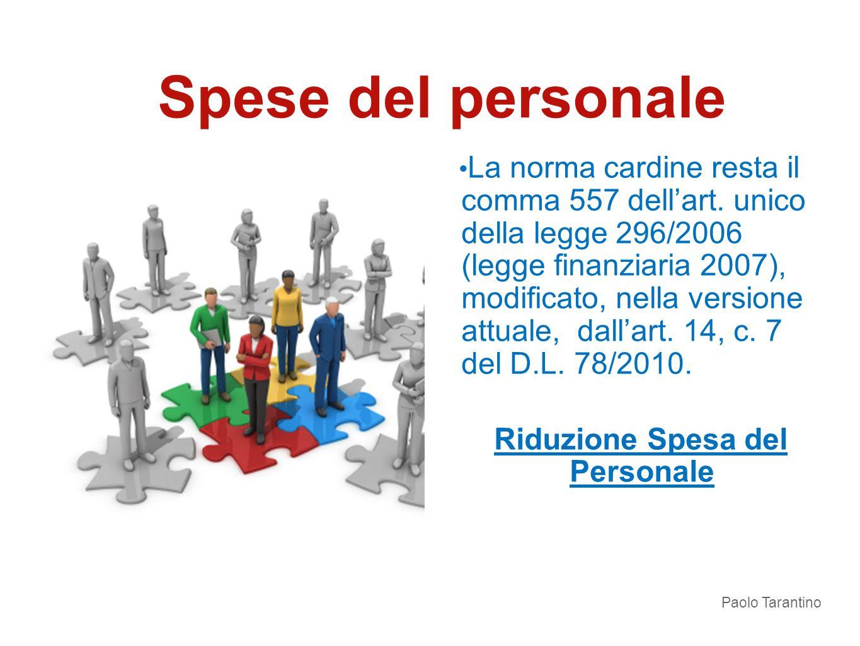 La norma cardine resta il comma 557 dellart. unico della legge 296/2006 (legge finanziaria 2007), modificato, nella versione attuale, dallart. 14, c.
