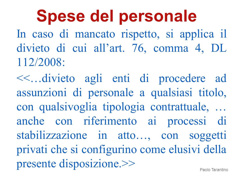 In caso di mancato rispetto, si applica il divieto di cui allart. 76, comma 4, DL 112/2008: > Paolo Tarantino Spese del personale