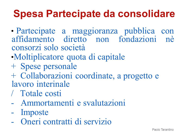 Partecipate a maggioranza pubblica con affidamento diretto non fondazioni nè consorzi solo società Moltiplicatore quota di capitale + Spese personale