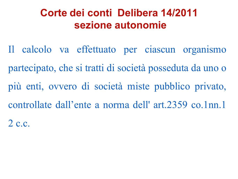 Corte dei conti Delibera 14/2011 sezione autonomie Il calcolo va effettuato per ciascun organismo partecipato, che si tratti di società posseduta da u