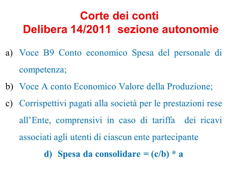 Corte dei conti Delibera 14/2011 sezione autonomie a)Voce B9 Conto economico Spesa del personale di competenza; b)Voce A conto Economico Valore della