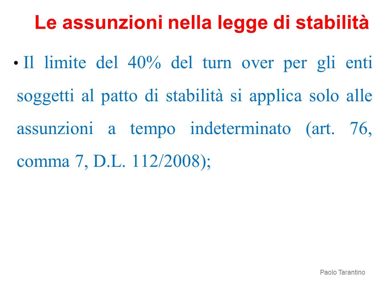 Il limite del 40% del turn over per gli enti soggetti al patto di stabilità si applica solo alle assunzioni a tempo indeterminato (art. 76, comma 7, D