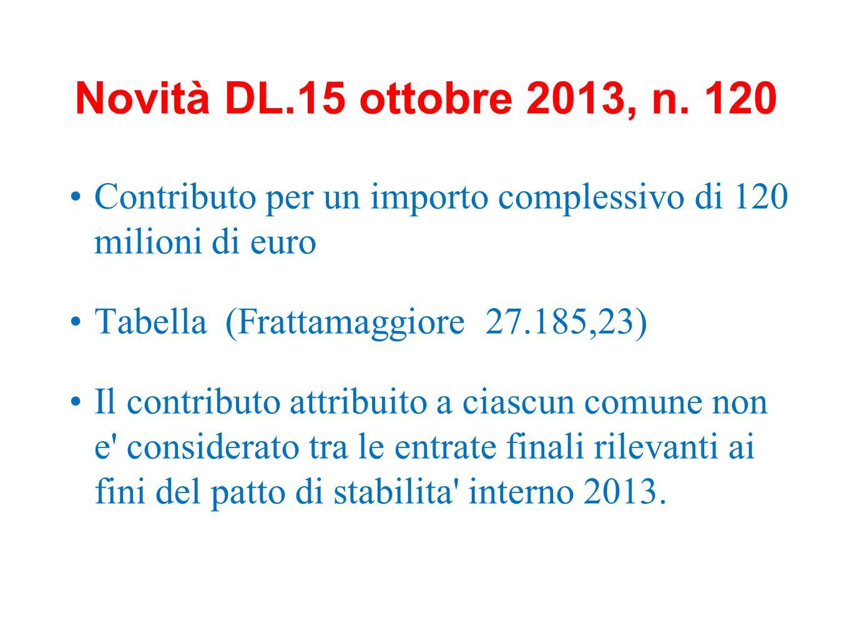 Novità DL.15 ottobre 2013, n. 120 Contributo per un importo complessivo di 120 milioni di euro Tabella (Frattamaggiore 27.185,23) Il contributo attrib
