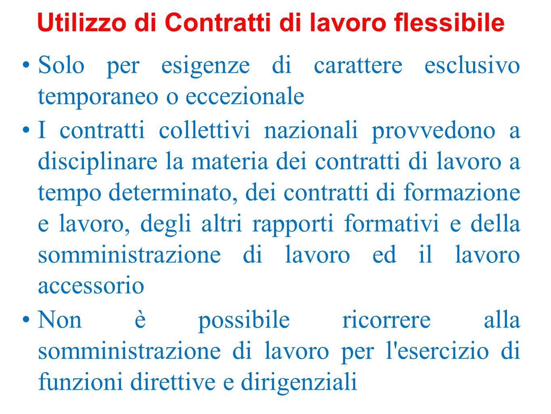 Solo per esigenze di carattere esclusivo temporaneo o eccezionale I contratti collettivi nazionali provvedono a disciplinare la materia dei contratti