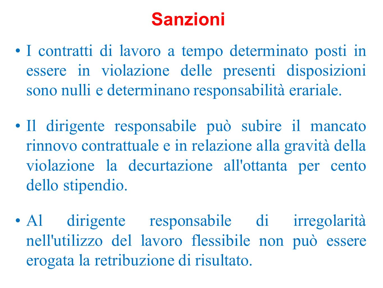 I contratti di lavoro a tempo determinato posti in essere in violazione delle presenti disposizioni sono nulli e determinano responsabilità erariale.