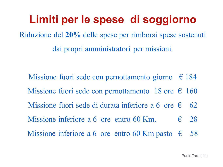 Riduzione del 20% delle spese per rimborsi spese sostenuti dai propri amministratori per missioni. Missione fuori sede con pernottamento giorno 184 Mi