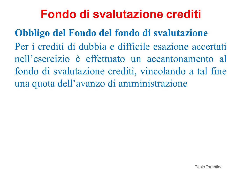 Obbligo del Fondo del fondo di svalutazione Per i crediti di dubbia e difficile esazione accertati nellesercizio è effettuato un accantonamento al fon
