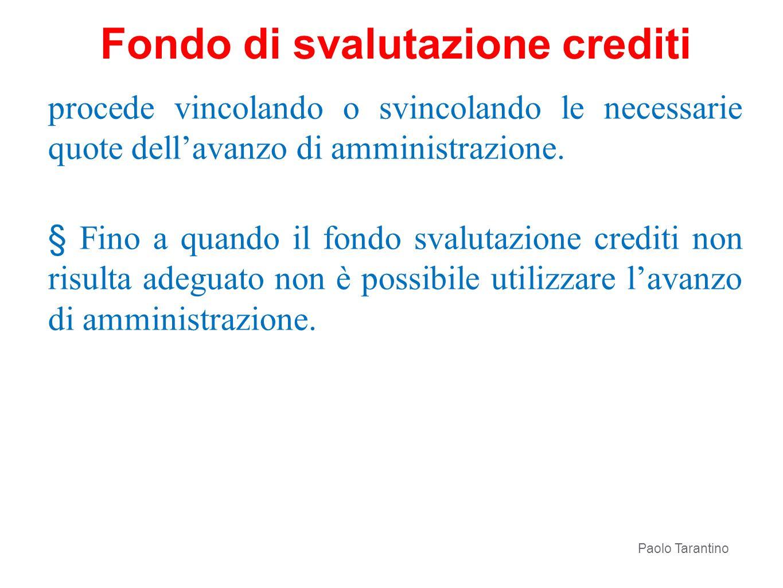 procede vincolando o svincolando le necessarie quote dellavanzo di amministrazione. § Fino a quando il fondo svalutazione crediti non risulta adeguato
