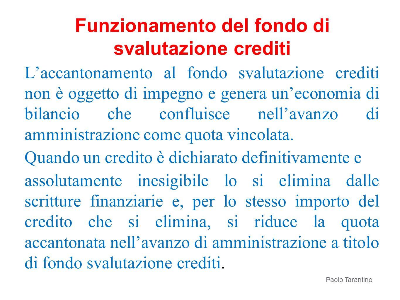Laccantonamento al fondo svalutazione crediti non è oggetto di impegno e genera uneconomia di bilancio che confluisce nellavanzo di amministrazione co