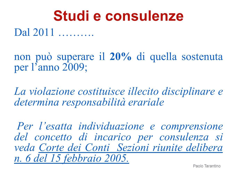 Dal 2011 ………. non può superare il 20% di quella sostenuta per lanno 2009; La violazione costituisce illecito disciplinare e determina responsabilità e