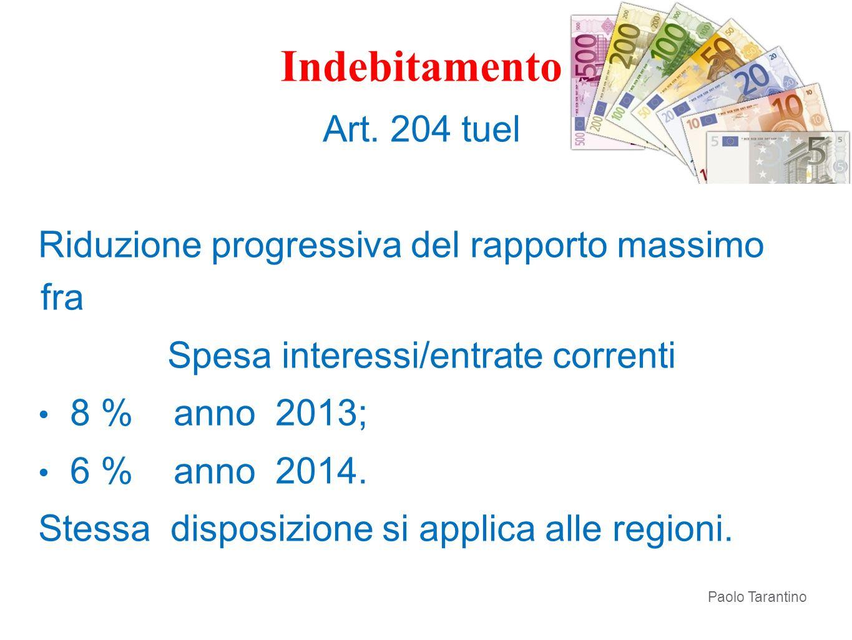 Indebitamento Art. 204 tuel Riduzione progressiva del rapporto massimo fra Spesa interessi/entrate correnti 8 % anno 2013; 6 % anno 2014. Stessa dispo