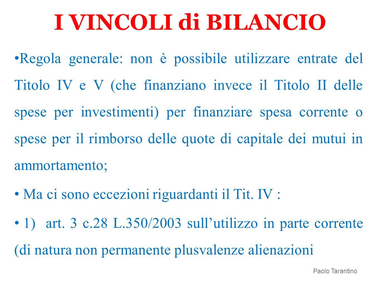 I VINCOLI di BILANCIO Regola generale: non è possibile utilizzare entrate del Titolo IV e V (che finanziano invece il Titolo II delle spese per invest