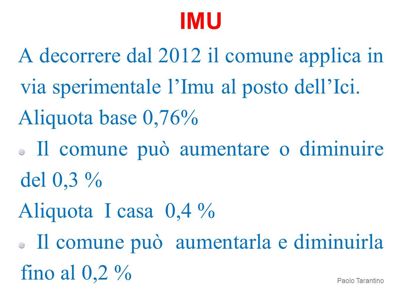 A decorrere dal 2012 il comune applica in via sperimentale lImu al posto dellIci. Aliquota base 0,76% Il comune può aumentare o diminuire del 0,3 % Al