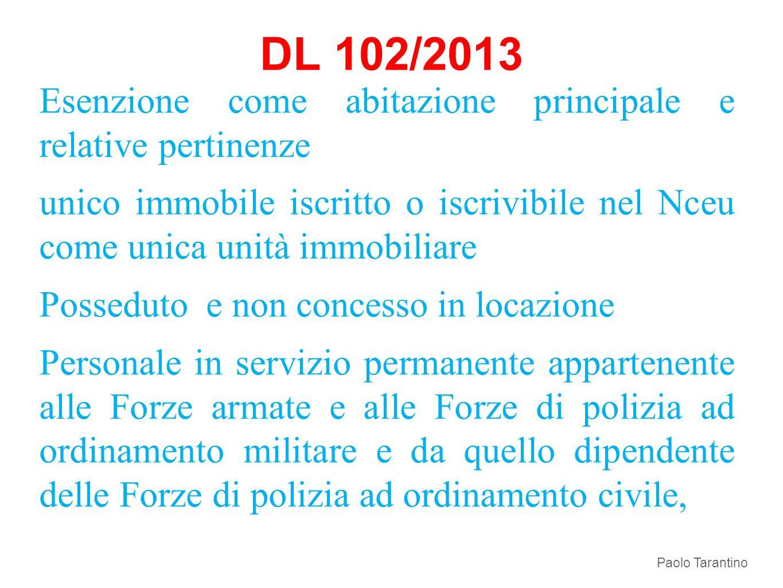 DL 102/2013 Esenzione come abitazione principale e relative pertinenze unico immobile iscritto o iscrivibile nel Nceu come unica unità immobiliare Pos